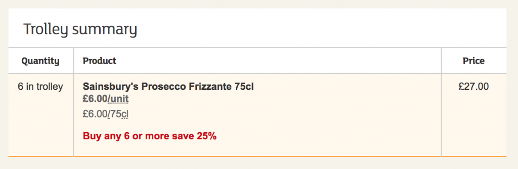 Sainsbury's Prosecco Deal - 6 Items